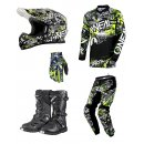 Oneal Element ATTACK black/hi-viz Kinder  MX Bekleidungsset