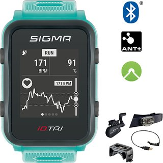 Sigma GPS Smart Triatlon Uhr mit Pulsmessung am Handgelenk Neon Mint Bundle